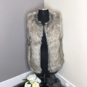 Faux Fur Grey Vest, Barely Worn